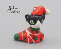 Weihnachten Dekoration Katze Skulptur von JuskanCreations auf Etsy