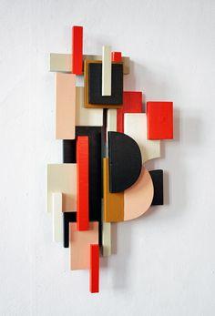 TILDE GRYNNERUP Geometric Sculpture, Geometric Wall Art, Wood Sculpture, Wall Sculptures, Wood Wall Art Decor, Unique Wall Decor, Wood Art, Wood Mosaic, Paper Crafts Origami