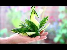 Art In Cucumber Peacock Garnish | Fruit & Vegetable Carving Designs Lessons - YouTube