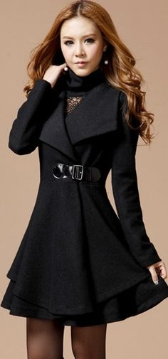 Solid Color Noble Style Worsted Turn-Down Collar Long Sleeves Women's #Coat