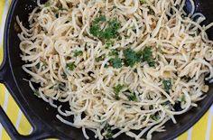 Spaghetti van knolselderij - 'spaghetti' aglio olio! Tevens AIP