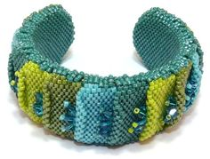Wading Through The Marsh Cuff - Peyote Stitch with Delicas and Swarovski Crystal