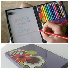 DIY DVD Color Pencil and Paper Carrying Case. Like this idea of being able to carry around something slim, tiny and organized. Tutorial from Handmade by Stacy Vaughn here.