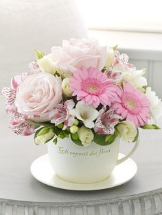 Tea cup filled with flowers