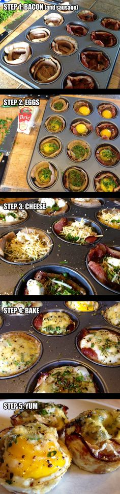 Breakfast Idea  Cook @ 400 for 15 min.  Line Muffin tins with oil to prevent sticking.  Line Cups with Bacon and/or Sausage