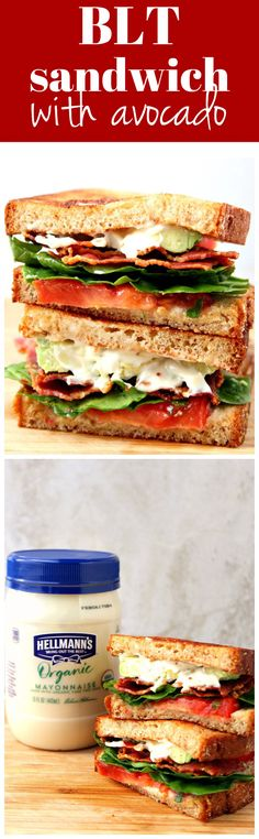 BLT Sandwich with Avocado Recipe - everyone's favorite classic sandwich made with better for you ingredients, like organic mayonnaise, whole grain bread and avocado.