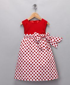 red white polka dot kids dress.  Love the white background with red polka dots.