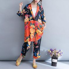 Flower Ramie Casual Women Suit Plus Size Kimono Fashion, Star Fashion, Womens Fashion, Baggy Clothes, Silk Suit, Long Sleeve Floral Dress, 2 Piece Outfits, Casual Looks, Casual Suit