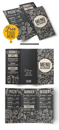 Modern tri-fold menu, created in trendy blackboard style. This menu will be perfect for restaurants that offer burgers, pizzas, desserts, etc. Menu is available in two design formats: PSD and EPS. Pizza Menu Design, Cafe Menu Design, Menu Card Design, Food Menu Design, Stationary Design, Free Menu Templates, Food Menu Template, Restaurant Menu Template, Restaurant Menu Design