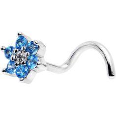 """18 Gauge 1/4"""" Aqua Blue and Clear CZ Gem Flower Left Nose Screw"""