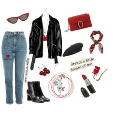 Fashion set Red French Style created via French Style, French Fashion, Cat Eye Sunglasses, Mom Jeans, Fashion Looks, Floral, Red, Outfits, Shopping