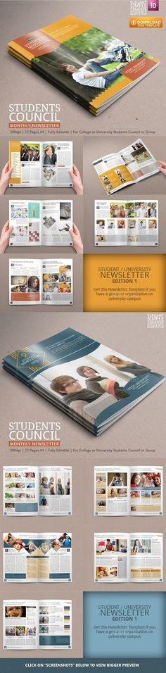 Two Amazing Student Newsletter - Newsletters Print Templates Company Newsletter, Business Newsletter Templates, Newsletter Layout, Newsletter Ideas, Newsletter Design, Indesign Templates, Print Templates, News Letters, University Life