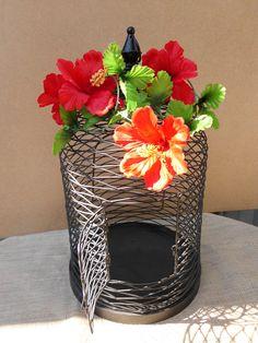 Wedding Birdcage Card Holder Hawaii Tropical Island Red Hibiscus Flowers Black Decoration Destination Reception Centerpiece Beach. $74.99, via Etsy.