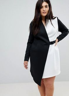 Really cute color Block Blazer Dress with Belt. Black and white plus size blazer dress. Great outfit for a party or office Denim Maxi Dress, Blazer Dress, Maxi Dresses, Asos Curve, Plus Size Party Dresses, Plus Size Outfits, Curvy Fashion, Plus Size Fashion, Asos Fashion