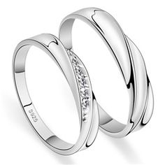 His & Hers Matching Couple CZ Sterling Silver Rings Set ,Best personalized gifts for him or her on Yoyoon.com