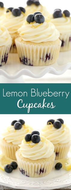 Lemon Blueberry Cupcakes with Lemon Cream Cheese Frosting Soft, light, and moist lemon cupcakes loaded with fresh blueberries and topped with an easy lemon cream cheese frosting. These Lemon Blueberry Cupcakes are the perfect dessert for spring or summer! Lemon Blueberry Cupcakes, Blueberry Recipes, Lemon Recipes, Sweet Recipes, Baking Recipes, Moist Strawberry Cupcake Recipe, Lemon Filled Cupcakes, Cream Cheese Filled Cupcakes, Lemon Blueberry Loaf
