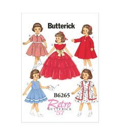 Butterick Pattern B6265-OSZ18 Doll Clothes-One Size Only