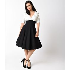 Unique Vintage 1950s Style Black & White Delores Swing Dress ($88) ❤ liked on Polyvore featuring dresses, vintage cocktail dresses, retro cocktail dresses, retro vintage dresses, knee length cocktail dresses and a line dress