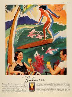1936 Ad Dole Pineapple Can Juice Hawaii Doolittle Illustration Art Cheers Couple