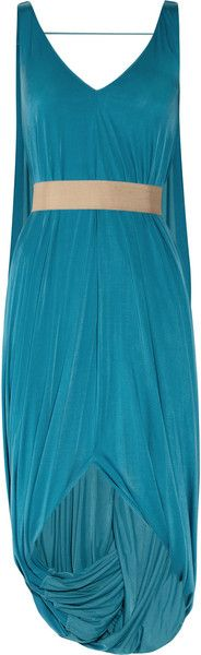 Amanda Wakeley Belted Draped Jersey Dress in Blue (turquoise) - Lyst