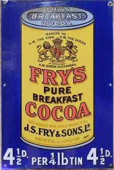 Fry's Pure Breakfast Cocoa Vintage Look Reproduction Metal Sign 8121334 Advertising Logo, Vintage Advertising Posters, Old Advertisements, Vintage Posters, Vintage Packaging, Vintage Labels, Vintage Ads, Vintage Signs, Vintage Ephemera