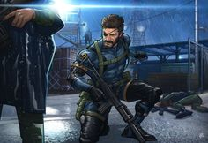 Artist Patrick Brown captured the mood of Metal Gear Solid V: Ground Zeroes perfectly in his fan piece. I just love the guard tower's lighting and the rain effects on the ground. Metal Gear Solid, Snake Metal Gear, Nintendo Ds, Patrick Brown, Fallout, Playstation, Infamous Second Son, Ground Zeroes, Gear Art