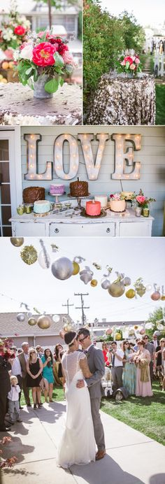 A little glitz and glamour transform this backyard shindig into a gorgeous outdoor wedding. See more on Style Me Pretty! Bride wearing Madrid by Maggie Sottero.