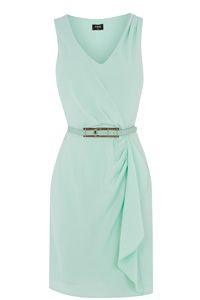 V Neck Frill Crepe Dress