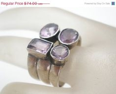 30% Off Amethyst Ring Wide Band Sterling by TheJewelryLadysStore