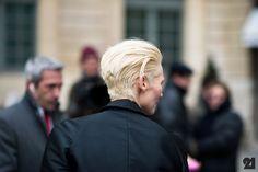 Tilda Swinton. Short blonde hair, edgy haircut. Photo: Adam Katz Sinding / Le 21ème http://le-21eme.com/tilda-swinton-paris/