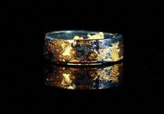 Unique Viking Wedding Band Gold Silver Black Mens wedding band of gold and oxidized silver. I create these wild patterns with my own process of super heating the two metals to completely fuse them. Mixing yellow, rose and white gold adds Black Wedding Rings, Wedding Rings Simple, Titanium Wedding Rings, Black Rings, Womens Wedding Bands, Wedding Men, Wedding Ring Bands, Wedding Jewelry, Viking Wedding
