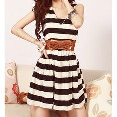 Wholesale Color Block Striped Sleeveless V-Neck Elastic Waist Wide Hem Dress For Women (BLACK,ONE SIZE), Casual Dresses - Rosewholesale.com