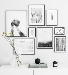 Gallery Wall Inspiration - Shop your Gallery Wall,Gallery wall with black and white posters and black metal frames Frames are decorative accessories that surround the moments you immortalize. Black And White Photo Wall, Black And White Frames, White Picture Frames, Black And White Posters, Black Frames On Wall, Black Framed Art, Black White, Black And White Interior, Gallery Wall Bedroom