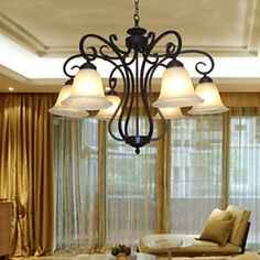 Chandelier,6 Light,Artistic Traditional Painting Processing – USD $ 219.99