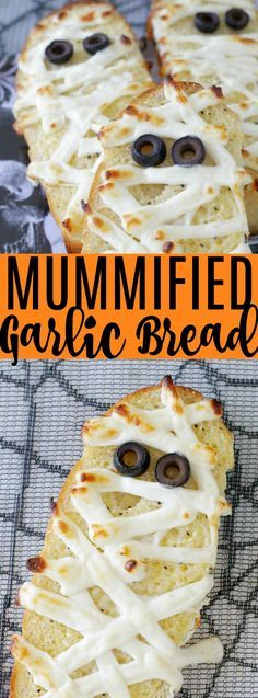 This Mummified Garlic Bread is a tasty and super simple way to dress up your dinner table for Halloween. Homemade garlic bread with melted string cheese. Halloween Appetizers, Halloween Desserts, Halloween Food For Party, Appetizers For Party, Halloween Treats, Halloween Halloween, Halloween Punch, Halloween Decorations, Fall Recipes