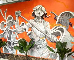 James Jean mural with David Choe's Igloo Hong art project in Phnom Pehn, Cambodia