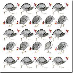Multi Guinea fowl Greeting Card by TheSkinnyCardCompany on Etsy