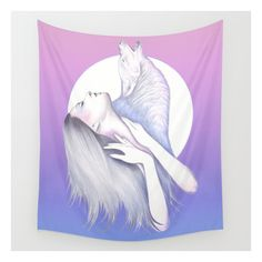 Wolves In You  Wall Tapestry ($39) ❤ liked on Polyvore featuring home, home decor, wall art, wall tapestries, outdoor wall art, outdoor home decor, outside wall art and tapestry wall art