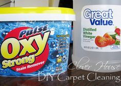 make your own carpet cleaner 2.5 c vinegar, 2 scoops oxy, warm water