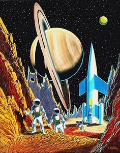 The Vault Of The Atomic Space Age — scifiction: Exploring Titan, A Moon Of Saturn,. Cyberpunk, Trippy, 70s Sci Fi Art, Posca Art, Ecole Art, Vintage Space, Futuristic Art, Science Fiction Art, Forensic Science