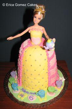Cake – Barbie Princess Tea Party Cake http://www.sevenlittlemonkeys.com
