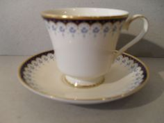 Minton Consort Blue Floral Footed Teacup and Saucer
