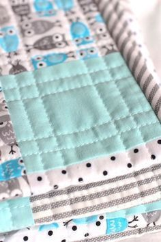 Love her technique for picking fabrics - Start with a great print, add a solid, a dot and a stripe. That's it! And, Oh So Cute!
