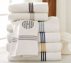 Shop grand embroidered weight bath towels from Pottery Barn. Our furniture, home decor and accessories collections feature grand embroidered weight bath towels in quality materials and classic styles. Monogrammed Hand Towels, Monogram Towels, Bathroom Towels, Bath Towels, Bathroom Storage, Kitchen Towels, Pottery Barn Bath, Monogram Bedding, Embroidered Towels
