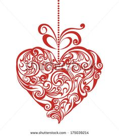 Valentines day card with elegant floral heart