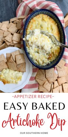 Baked Artichoke Dip is an easy hot appetizer with only 5 ingredients that's perfect for a party or tailgating event! It's a crowd-pleaser. #bakedartichokedip #artichokedip #appetizer #dips #tailgaterecipes Make Ahead Appetizers, Hot Appetizers, Easy Appetizer Recipes, Appetizer Dips, Tailgate Food, Tailgating, Baked Artichoke Dip, Breakfast Pastries, Party Food And Drinks