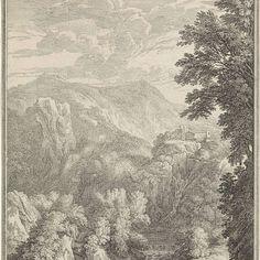 Arcadisch landschap met bergen en een rivier, Isaac de Moucheron, after Gaspard Dughet, 1697 - 1744 - Rijksmuseum
