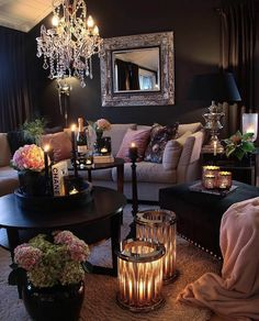 Recent living room paint ideas grey sofa only in zelta home design 2020 Living Room Design Ideas Glam Living Room, Living Room Decor Cozy, Living Room Goals, Living Room Interior, Romantic Living Room, Black Living Rooms, Black Living Room Furniture, Romantic Bedroom Design, Ikea Interior