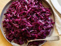 For a quick and easy side dish, try Rachael Ray's Sauteed Red Cabbage recipe, flavored with vinegar, sugar and mustard, from 30 Minute Meals on Food Network. Sauteed Red Cabbage - Get Sauteed Red Cabbage Recipe from Food Network Purple Cabbage Recipes, Best Cabbage Recipe, Red Kraut Recipe, Cooked Cabbage Recipes, Sauteed Red Cabbage, Braised Red Cabbage, Red Cabbage Coleslaw, Sauteed Carrots, Sauteed Kale