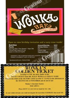 Willy Wonka Golden Ticket Invitation Candy Bar by MLTCreations, $18.00
